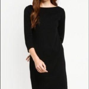 LOFT Black Ponte Knit Zipper Detail Sheath Dress
